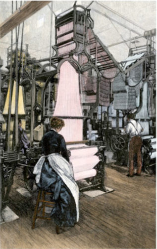 Woman working a Jacquard loom of the time