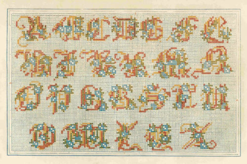 Mid-19th Century example of an abcd'ere or abcderie, an embroidered sampler