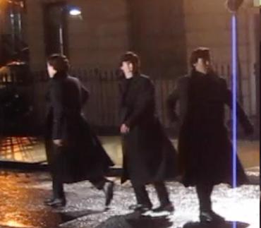 Famous Belstaff water-repellent Sherlock coat worn by Benedict Cumberbatch during a rainy April shoot, 2013