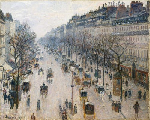 """""""The Boulevard of Montmartre on a Winter Morning,"""" Camille Pissarro, 1897"""