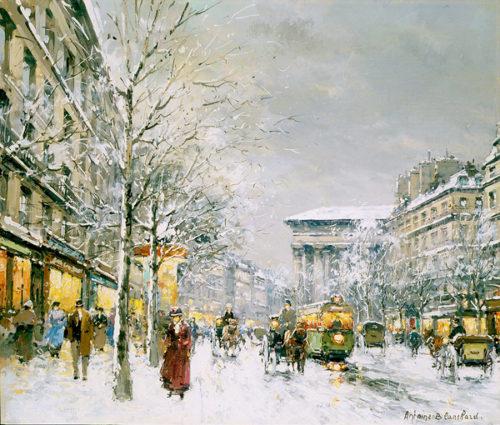 The Boulevard de la Madeleine in the Snow by Antoine Blanchard