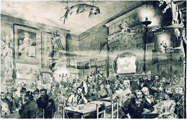 The inside of the Chat Noir at the time of the story by Caran D'Ache