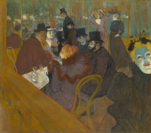 """""""At the Moulin Rouge"""" c. 1892.  Lautrec is facing left, the shorter man in the background. One of the men in the foreground is his friend, photographer Paul Sescau"""