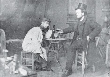 Toulouse-lautrec and friend Lucién Metivet drinking absinthe, c.1885
