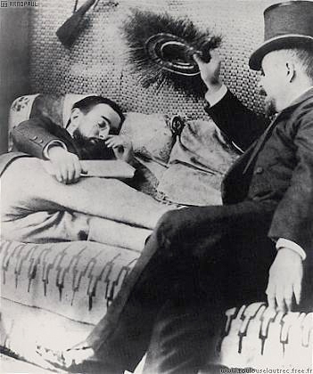 """Humorous photo of the genius and his """"minder,"""" Dr. Bourges"""